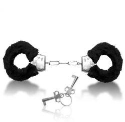 Algema de Metal com Pelúcia Preta Hand Cuffs - 14561
