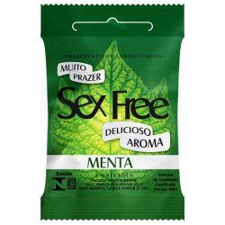 Preservativo Lubrificado Sex Free Aroma Menta com 3un - SEX004