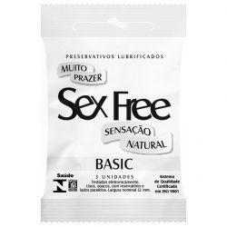 Preservativo Lubrificado Sex Free Basic Sensação Natural com 3un - SEX013