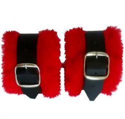 Algema Bracelete em Bidin e Pelúcia Vermelho - 022MR