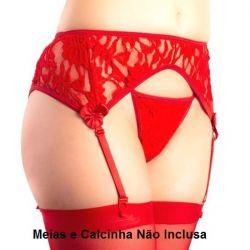Cinta Liga Sensual Rendada Vermelha P - 19876VP