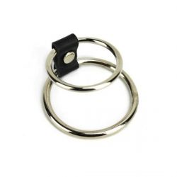 Anel Peniano Duplo em Metal c/ Tira Couro Sintético  Argola 5cm e 3,8cm– CK0632R