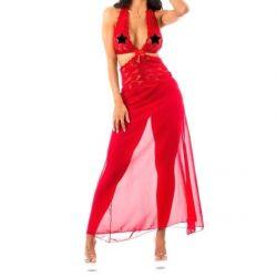 Camisola Longa Sensual Renda Vermelha - 8014V